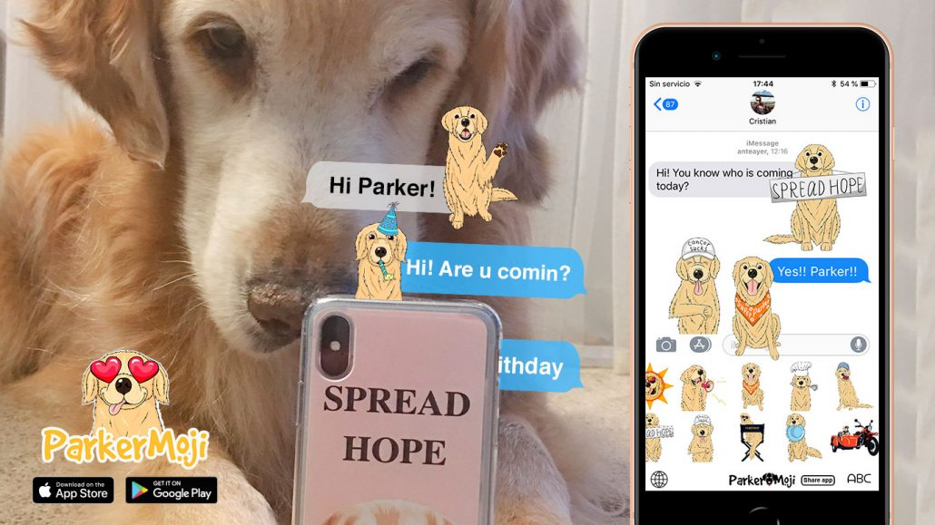 parkermoji golden retriever cartoon emoji