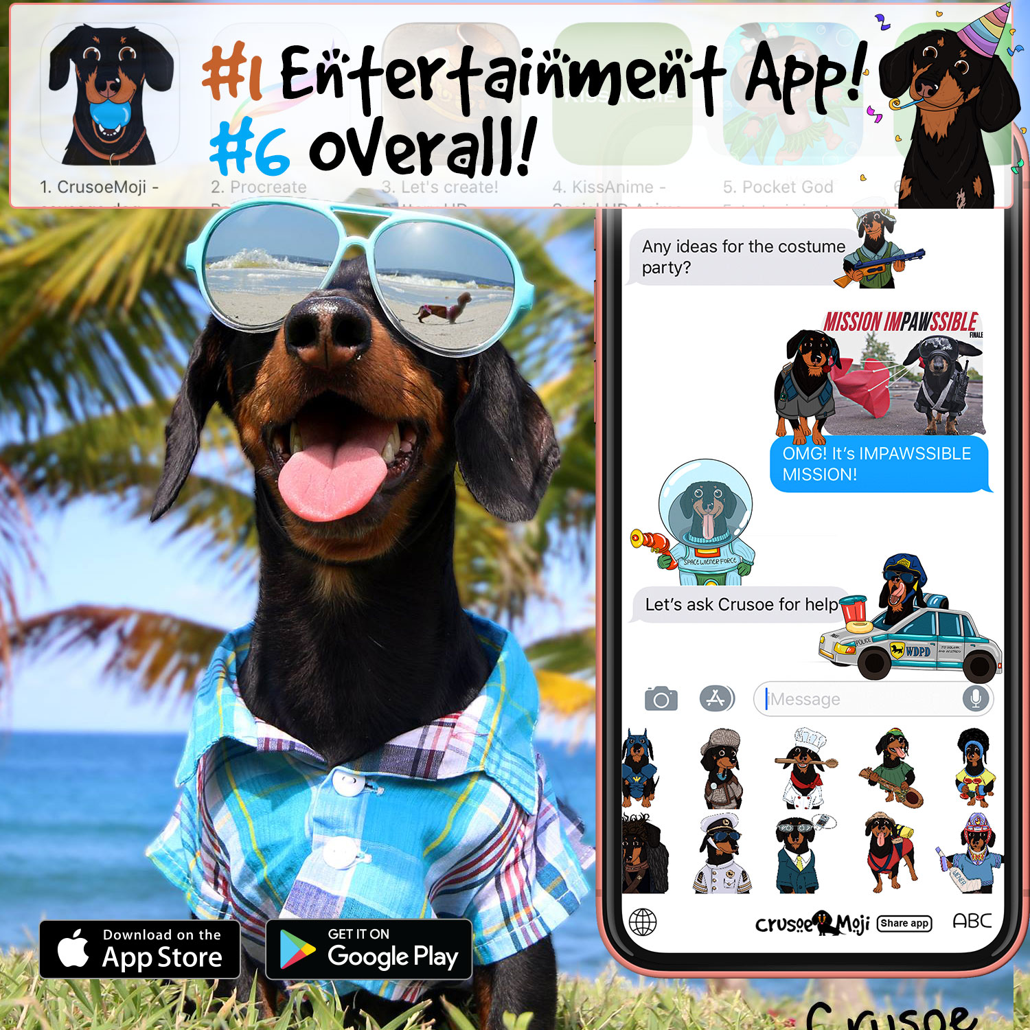 CrusoeMoji, the emoji app for Dachshund lovers hits #1 | CollieMoji